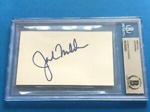 JOHN MADDEN (HOF Raiders NFL Announcer) Signed Index Card - Beckett BAS