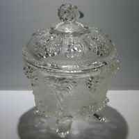 Vintage Jeannette Clear Glass Candy Dish Footed Grapes And Leaves With Lid 1950s