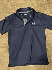 Under Armour boys golf polo shirt short sleeve size 6 Navy Blue Heatgear EUC