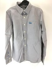 SUPERDRY Mens Shirt S Small Grey White Stripe Cotton