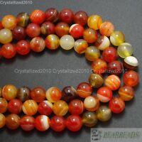 "Natural Orange Stripe Agate Gemstone Round Loose Beads 6mm 8mm 10mm 12mm 15.5"""
