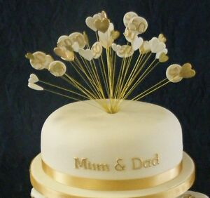 Handmade wired GOLDEN  50th WEDDING ANNIVERSARY heart cake topper / decoration