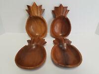 Vintage Handmade Monkey Pod Wood Pineapple Bowls 1978 Hawaii Tiki Set of 4