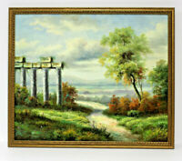 Italy Countryside Road  20 x 24 Art Oil Painting on Canvas w/Custom Frame
