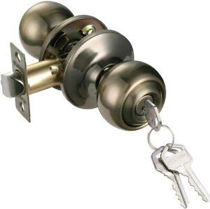 Ball Style Keyed Entry Door Knob Lock with Keys Antique Brass Finish
