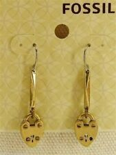 Fossil Luv Story Heart Lock Drop Earrings Goldtone New! NWT