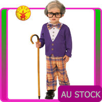 Kids Grandpa Little Old Man Geezer Child Costume Boys 100 Days Party Book Week
