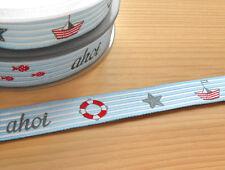 "2m (€1,68/m) Webborte ""ahoi"" Maritim Marine Navy See Meer Webband Band [65156]"