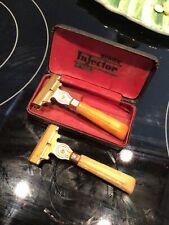 Vintage Antique SCHICK Injector Mens Razor w/ Yellow Bakelite Handle Plus Razor