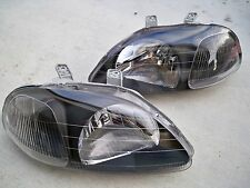 96-98 Honda Civic EK Coupe Sedan JDM Black Housing Headlights w/ Clear Reflector