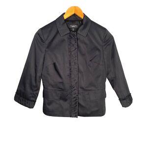 Talbots Womens Snap Button Up Blazer Jacket Size 4 Black Ruffle 3/4 Sleeve