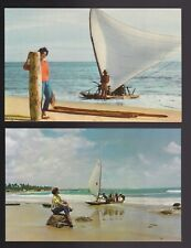 VARIG the pioneer airline of Brazil Ceará Jangada Fortaleza sailboat 2-Postcards