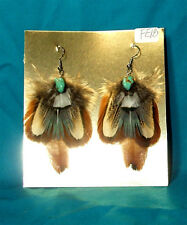 Pheasant Feather Earrings w Real Turquoise Stone Regalia FREE SHIPPING FE18