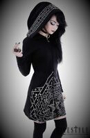 Restyle Gothic Punk & Emo Black White Moon Long Cotton Hoodies for Women Size XS