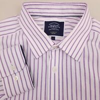 Charles Tyrwhitt Men's Shirt Large Non Iron Classic Fit Striped White Purple