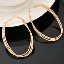 1Pair Earrings Hoop Dangle Drop Vogue Light Golden Women Three Layers