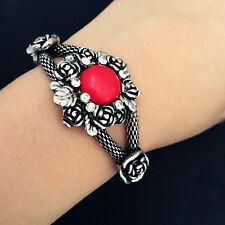New Fashion Jewelry Vintage Silver Rose Bangle Bracelet