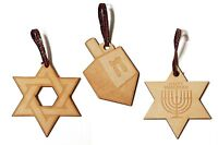 Jewish Themed Set of 3 Laser Engraved Wooden Christmas Tree Ornament Gift Season
