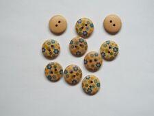 8pc 18mm Light Beige & Blue Flower Painted Wooden Craft Kids 2 Hole Button 1532