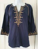 Womens Monsoon Blue Gold Embroidered Linen Ethnic Boho Hippie Kaftan Blouse Top8