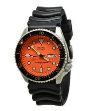 Seiko Automatic Diver Skx011J1 Orange Dial Black Rubber Band Mens Made in Japan