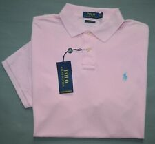New Large L Polo Ralph Lauren Mens shirt pink weathered Polo Custom Slim Fit top