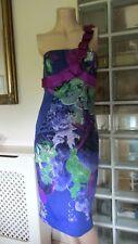 Size 10 UK Karen Millen One Shoulder Tropical Floral Wiggle  Dress Party Races