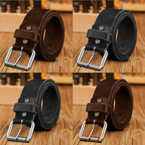 Mens Leather Belts 1.25, 1.5 Genuine Pure Leather High Quality Jeans Belt Buckle