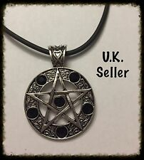 Large Pentacle Necklace With Black Stones On Rubber Cord