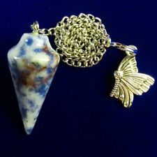 35x15mm Sodalite Pendulum & Tibetan Silver Butterfly Pendant Bead A04521