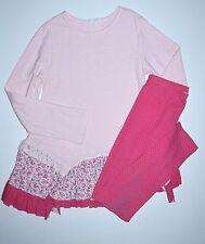 Naartjie Royal Rose 10 Floral & Lace Trim Slub Knit Tunic Top Leggings Tilly JP1