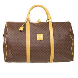 CELINE Macadam Travel Hand Boston Bag M13 Purse Brown PVC Leather Italy 10416