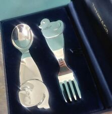 Tiffany & Co. Sterling Silver Whale and Duck Baby Fork & Spoon Set