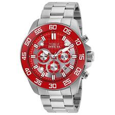 INVICTA MEN'S PRO DIVER STEEL BRACELET & CASE QUARTZ RED DIAL WATCH 24722