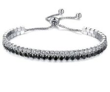 DOUBLE ROW BLACK ZIRCON CRYSTAL ADJUSTABLE TENNIS FRIENDSHIP BRACELET