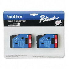 "2-Pack Brother TC-11 1/2"" Red on Clear P-touch Label Tape 12mm TC11 New"