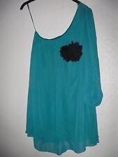 ladies Dress - short one shoulder with black flower Be Beau size 10