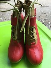 Red Rubber Baby Phat Boots Size 8.5