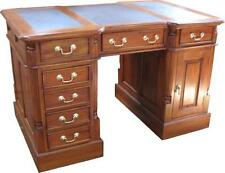 Solid Mahogany Pedestal Desk with brown leather (small) Antique Repro DSK002B