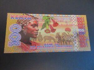 BANK OF EQUATORIAL TERRITORIES, POLYMER 100 FRANCS EQ, KENYA, KAMBERRA UNC