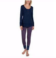 NWT Josie Women's 2 Piece Henley Pajamas Set, Blue & Red, Size SMALL