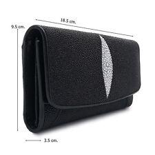 Super black Stingray Leather Lady Wallet Wide 9.5 cm. Long 18.5 cm.Thick 3.5 cm.