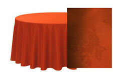 """Catering Quality x-hire Tablecloth 90""""x90""""SQUARE Wedding DARK ORANGE DAMASK ROSE"""