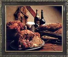 Wine & Fruit Pheasant Still Life Kitchen Wall Decor Art Framed Picture (20x24)