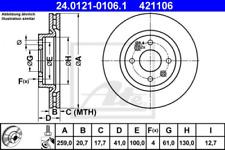 2x Bremsscheibe für Bremsanlage Vorderachse ATE 24.0121-0106.1