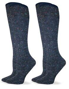 Wise Blend Womens Wool Marl Knit Wicking Tall Long Knee High Boot Socks 2 Pair
