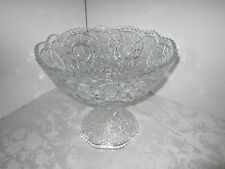 "Vintage Crystal Glass Punch Bowl & stand EAPG Starburst Pinwheel Antique 10"" H"