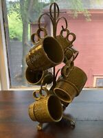 Mid Century Coffee Cups Vintage Retro Stacking Style with Stand (Japan) Avocado
