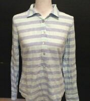 Vineyard Vines Blouse 4 Dark Light Blue White Striped Half Button Long Sleeve
