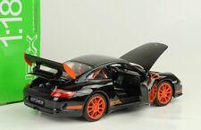 2007 Porsche 911 997 GT3 RS black schwarz / orange spokes 1:18 Welly